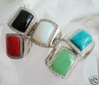 Men's Coral &Agate& Opal& turquoise& jade ring size10 U