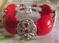 Fancy Tibet silver beautiful red coral bracelet