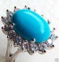 Fancy tibet wonderful blue turquoise ring 7-9#