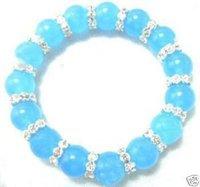 Tibet Silver Blue Jade Beads Bracelet