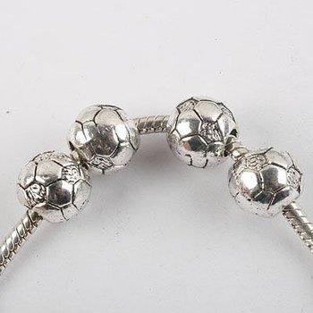 10pcs antiqued silver football bead fit bracelet 8356