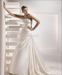 Train Satin Strapless Bridal Wedding Dress 2010 Fashionable Brush(China (Mainland))