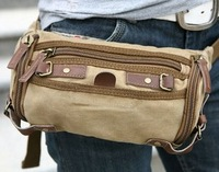 2291 khaki 100% cotton canvas & leather waist bag