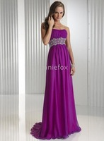 Striking Chiffon Satin A-line Crystals Beads Wide Empire Waist Band Perfect Soft Sweethear Formal d
