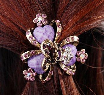 Free Shipping Burple Flower Crystal Rhinestones Hairpins Hair Claw Clip a2424-1