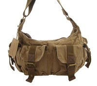 2353 khaki men's shoulder bag, 100% cotton canvas bag,leather bag,fashion handbag,cotton canvas bag