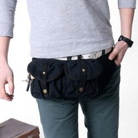 2373 black 100% cotton canvas waist bag