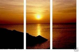 Pintura a óleo da arte o mar do sol sobre tela(China (Mainland))
