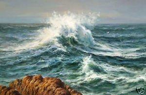 """Bela pintura a óleo seascape & oceano onda recife 36 """"(China (Mainland))"""
