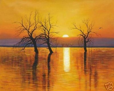 "Artesanato Arte Repro pintura a óleo: ""sunset água""(China (Mainland))"