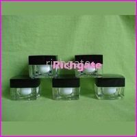 Empty Cosmetic Jar Container for lip balm facial cream eye cream 10g (48pcs/lot) Acrylics Black Cap Makeup Organizer  Jars