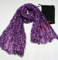 Purple Leopard scarf  Panther print wraps