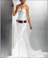 2014 Special Offer Natural Floor-length A-line Sweetheart Sleeveless New Brides Gown Wedding Dress Burgundy Belt Custom Made