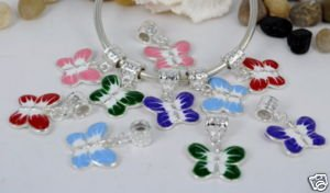35pcs W/Bail Mixed Butterfly Charms Beads Fit Bracelet DIY Jewelry BE015(China (Mainland))