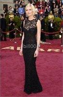 Black Sexy sheath Lace floor-length Evening Dress Celebrity Dresses The 81st Oscar