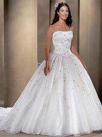 Ball Gown Strapless Floor-Length 2009 Style Elastic Satin Wedding Dresses for jobridal HS0935
