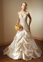 Luscious Bridal wedding gown Ball Gown Halter Floor-Length embroidery Wedding Dresses SKU890363