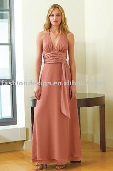 BD105  Halter neckline chiffon charmuese trim at waist and hemline bridesmaid dresses
