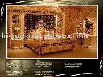 luxo king size classsical& antigo quarto jogo da mobília, cama king size, ao lado tela, mesa de cabeceira, cômoda, espelho(China (Mainland))