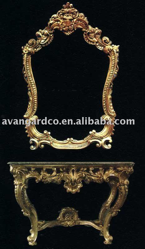 Mão esculpida console de rococó com goldleaf tampo de mármore com espelho móveis(China (Mainland))