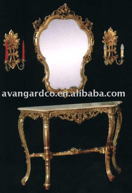Mão esculpida set console de mesa antigo, design europeu com espelho(China (Mainland))