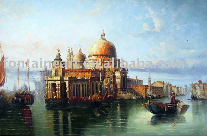 Handmade Classical Old Venice Oil Painting- Italy Canal Basilica Boats,free shipping(Hong Kong)