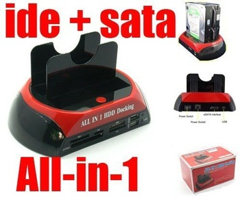 "NEW DUAL TWIN 3.5""/2.5"" IDE SATA HDD Docking Station +Card Reader HUB Free Shipping"