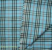 Fc2850 f1048n8 Blue checkd small tartan mix blend cotton Fabric Cloth Shirt meter