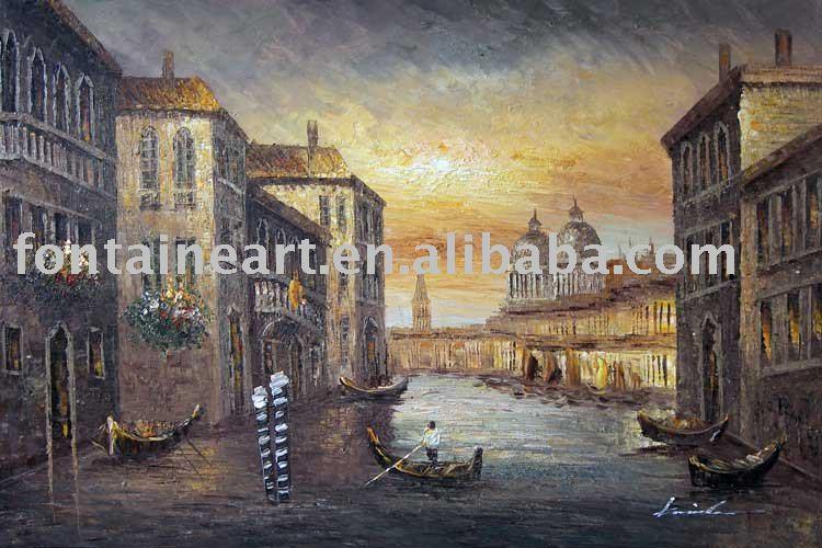 Handmade Impressionist Venice Canal Gondola Sailboats Sunset Oil Painting,freeshipping(Hong Kong)