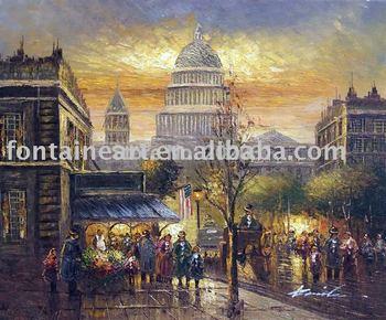 Handmade Washington DC Sunset 1900's Street Scene Oil Painting