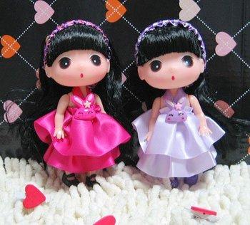 120 pcs Lovely Korean Ddungl Girl Cell Charm Accessory Handbag Charms Keychain Children's Gift
