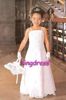 Hot Sale Ivory Handmade Flower Beads Tulle Bow Flower Girl Dress Girl's Party Dress Children's Gown  FL-381