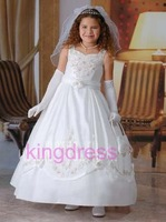 Kids Fancy Dress Jewel Lace Corset White Princess Dress for Children White Flower Girls Dress  FL-401