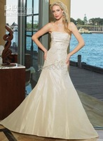 beading sleeveless weddingdress#WD82 Any color elegance style a-line strapless floor-length