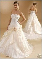 Modern style ivory color Taffeta Sleeveless A-Line Floor-length Beaded Strapless Wedding Dress PD01