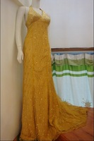 sell cheap gold lace evening dresses with long train embroaidery in freeshipping h10176