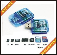 10pcs/lot-Hot sale-memory card usb 2.0 card reader sd mmc tf ms card readers