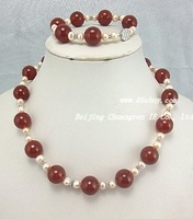 "20"" red agate & pink freshwater pearl necklace bracelet"