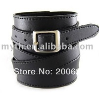 Black Wide Punk Leather Wrap Bracelet,  Buckle Wrap Around Leather Stitched Bracelet ,Men's Fashion Leather Jewelry