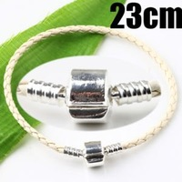 Smooth Clasp Leather Charm Bracelet 23cm 3118-1