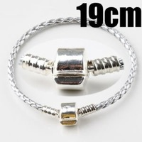 Smooth Clasp Leather Charm Bracelet 19cm 3118-9