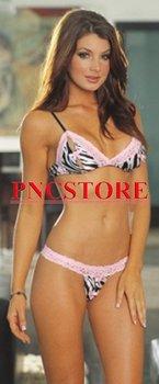 sexy underwear Zebra bra set W/ pink lace ruffle Sexy lingerie wholesale 5 sets/lot 4065