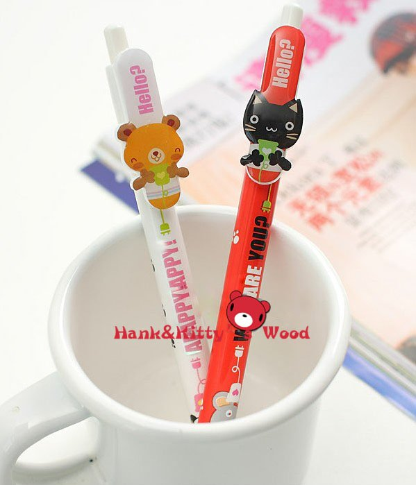 wholesale cheap new brand Lovely animals face stationery ballpen Ballpoint Pen bend Students/ children gift(China (Mainland))
