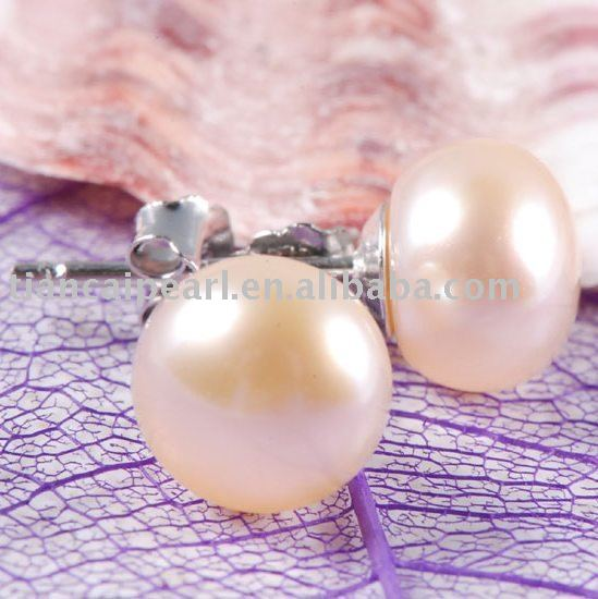 AAA 7mm GENUINE PINK FW PEARL 925 SILVER STUD EARRINGS(China (Mainland))