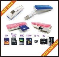 10pcs/lot-Hot sale-memory card usb 2.0 card reader sd mmc tf ms card readers