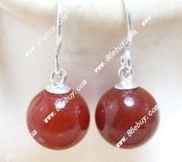 8mm red agate&925silver hooks earring