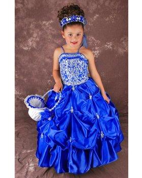 Beautiful Halter Beaded Organza Bridal Flower Girl Dress Children Pageant Dress  FL-728