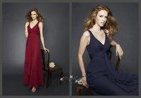 ML205*Chiffon V-Neck Long Dress Party Dresses Women Bridesmaid Dress