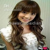 wholesale Wigs 5pcs/lot No.17 Beautiful long brown made hair women's wig/wigs Synthetic