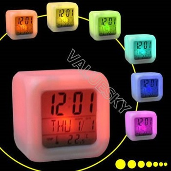 Wholesale brand new Moodicare 7 colors LED digital thermometer alarm clock